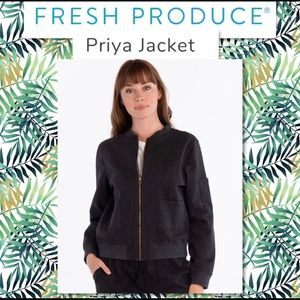 Fresh Produce Black Priya Bomber Jacket NWT Large